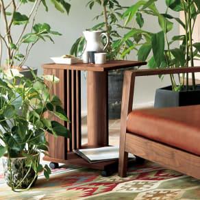 Green/グリーン ウォルナット天然木 ソファサイドワゴン・キャスター付きソファサイドテーブル 写真