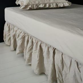 FrenchLinen/フレンチリネン フリルカバーリング ベッドスカート フリーサイズ 写真