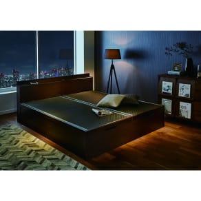 「美草」畳ガス圧収納ベッド 収納棚付きヘッドボードタイプ シングル 写真