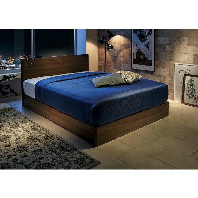 Pahkina/パーキナ 収納ベッド クラリス コーディネート例 LEDライトは間接照明の様なイメージ。