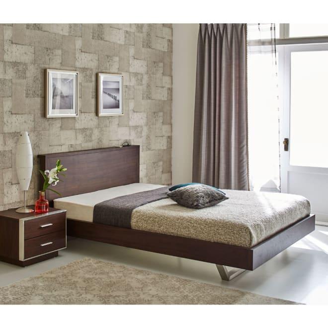 GlanPlus/グランプラス ベッド 高密度ポケットコイルマットレス クールモダンなデザインにUSB 充電も装備した都会派ベッド