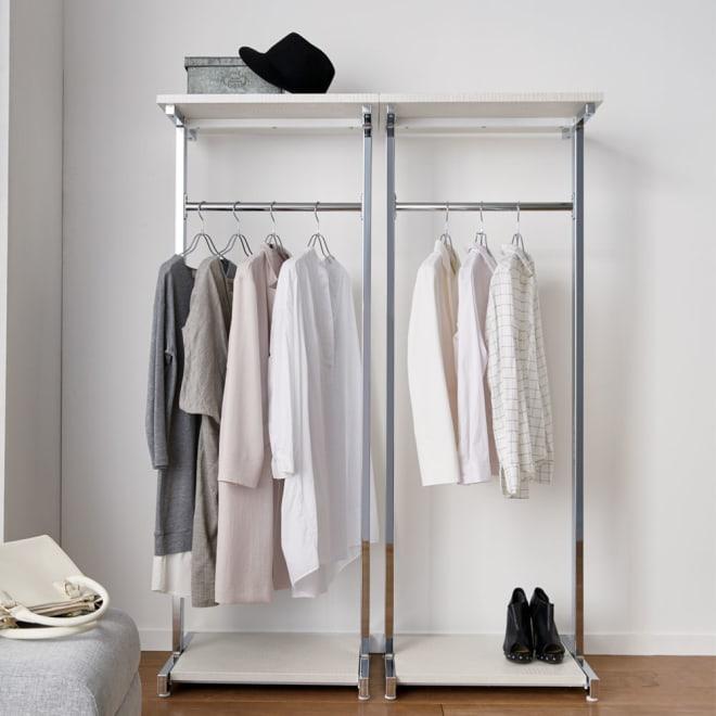 Kudelia/クーデリア 上下棚付き頑丈ハンガーラック シングル 幅60cm 2台並べて使用。お届けは1台になります。モダンなデザインのハンガーラック。お部屋のコートハンガーとしてもおしゃれです