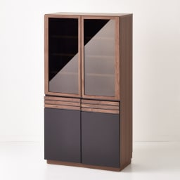 AlusStyle/アルススタイル 薄型ホームオフィス ブックシェルフ幅80cm 側面には、ウォルナット柄をリアルに再現した表面材を使用。サイドから見てもシックな雰囲気の仕上がり。