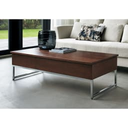 収納スペース付き リフトアップセンターテーブル [通常時]ウォルナット (通常時 高さ37cm)