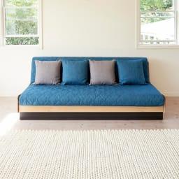 Licol/リコル ソファベッド 幅200 [国産] (ア)ナチュラル×ブルー