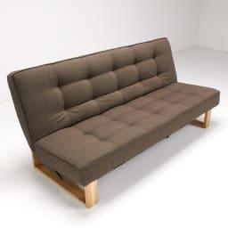 ツイード調ソファベッド ハイバック [国産] 背もたれと座面は優しい凹凸を付けたデザインになっています。