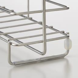ステンレス製 シャンプーバスケット /浴室用シャンプーラック 背面と脚部にはゴム製のクッションがついているので、壁や床の傷つきを防ぎます。