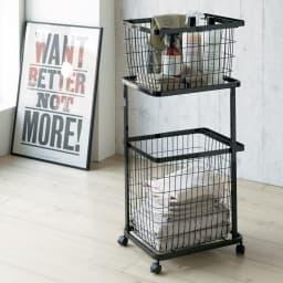 tower/タワー ランドリーワゴン バスケット2個タイプ 洗濯物の分別や、洗濯用品の収納に便利!