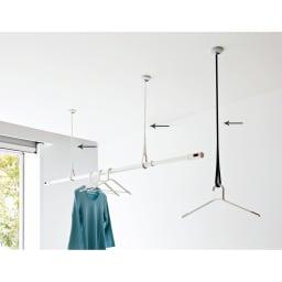 nasta/ナスタ 室内物干し 天吊りタイプAir Hoop(1本) ブラック×グレー 高さは3通りに調節できます。