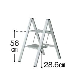 薄型アルミステップ 2段 ブラック アルミ脚立
