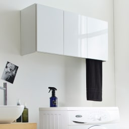 Jerid/ジェリド ハンガーバー付き吊り戸棚 幅89cm (イ)ホワイト 洗濯機上のデッドスペースを有効活用できます