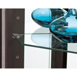 LEDライト付き キュリオコレクションボード コーナータイプ 高さ175cm 照明の光を通すガラス棚がディスプレイをラグジュアリーに演出。