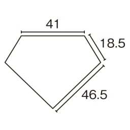 LEDライト付き キュリオコレクションボード コーナータイプ 高さ175cm 平面図(cm)