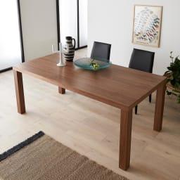 Multi マルチダイニングテーブル ウッドレッグタイプ 幅160cm コーディネート例:ウォルナット 160cmタイプはデスクとしても