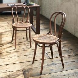 アンティーク風No.18 曲げ木 チェア[チェコTON社製] 2脚組 世界中のカフェで愛されるヨーロピアンチェア