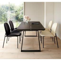 Kivits/キヴィッツ ダイニングシリーズ 幅165cm 5点セット (カ)テーブル・ブラック、チェアミックス(ブラック2脚・ホワイト2脚) 幅165の少し大きめの定番サイズ