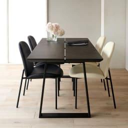 Kivits/キヴィッツ ダイニングシリーズ 幅165cm 5点セット (カ)テーブル・ブラック、チェアミックス(ブラック2脚・ホワイト2脚) 幅165の少し大きめの定番サイズ チェア収納カット