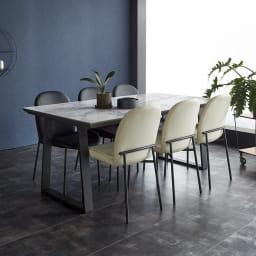 Kivits/キヴィッツ ダイニングチェア (ウ)テーブル・ホワイト、チェアミックス(ブラック2脚・ホワイト2脚) 幅179の大型サイズ