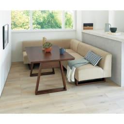 BIS/ビス アームレスソファ 幅126cm  (ア)カーキ 左アームセット コンパクトなテーブル119cmタイプ