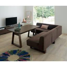 右 ワンアームソファ(BIS/ビス リビングダイニングシリーズ) (ウ)ブラウン 左アームセット テーブル140cm ロータイプのテレビボードと合わせればロースタイルのリビングダイニングに。