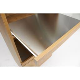 Cretty/クレッティ ステンレススライドテーブル ナチュラルモダンキッチン収納 レンジ台ハイ 頑丈なステンレス製の棚板は、耐荷重約10kg。