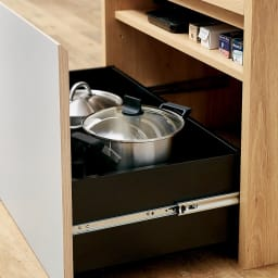 Matiz/マティース ゴミ箱がしまえるグレー家電収納 幅60cm (ごみばこ2列用※ごみ箱は別売り) 最下段は鍋などの収納にも。棚板を取り付ければ効率収納も可能。