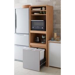Matiz/マティース ゴミ箱がしまえるグレー家電収納 幅60cm (ごみばこ2列用※ごみ箱は別売り) 家電をたっぷり収納しながら、見せたくないゴミ箱は隠せるキッチン収納です。