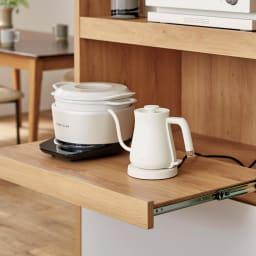 Matiz/マティース ゴミ箱がしまえるグレー家電収納 幅60cm (ごみばこ2列用※ごみ箱は別売り) 蒸気が出る家電はスライドテーブルにのせて引き出せます。
