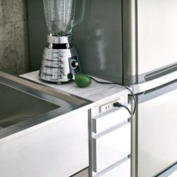 Nome/ノーム コンセント付き作業台 幅20cm:小型家電のスペースに。