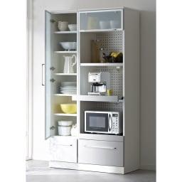 SmartII スマート2 ステンレスシリーズキッチン収納 キャビネット右開き 幅40cm ホワイト系色見本 ※写真はキャビネット幅40左開きです。お届け商品は右開きとなります。