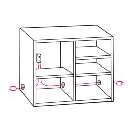Granite/グラニト アイランド間仕切りキッチンカウンター幅140cm 家電収納付き 〈左右配線コード穴〉コード穴が左右両サイドにあるので、設置場所に応じた配線が可能です。