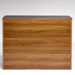 Granite/グラニト アイランド間仕切りキッチンカウンター幅120cm 引き出しタイプ 背面のウォルナット木目柄は、昨今の日本の内装にも多くみられるカラー。ヨーロッパのおしゃれなキッチンを簡単に再現できます。