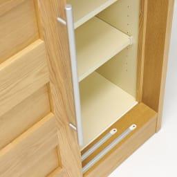 NexII ネックス2 天然木キッチン収納 カウンター 幅120cm 引き戸はスライドレールをつけ、滑らかに開閉します。