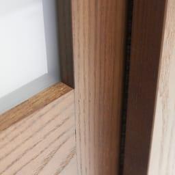 NexII ネックス2 天然木キッチン収納 キャビネット 幅120cm 引き戸の隙間にはほこりの侵入を防ぐ防塵仕様です。