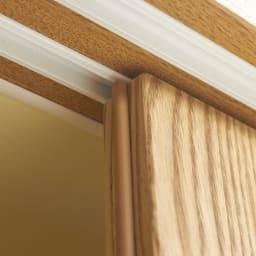 NexII ネックス2 天然木キッチン収納 キャビネット 幅140cm 引き戸は上部にもスライドレールをつけ、滑らかに開閉します。