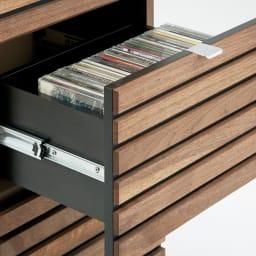 Grid/グリッド 薄型収納 チェスト 幅40.5cm高さ84.5cm 引き出しにはリビングからあふれたCDやDVD、玄関小物を収納できます。