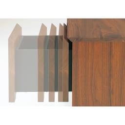 木目の風合いに包まれたグロッセウォルナットTV台シリーズ オープンキャビネット 幅40cm 引き出しは閉まる直前にクッションがきいて静かに閉まります。