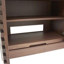 ウォルナット格子リビング収納シリーズ PCデスク 幅80cm デスク下部スライドテーブルはプリンター台に。棚は取り外しもできます。