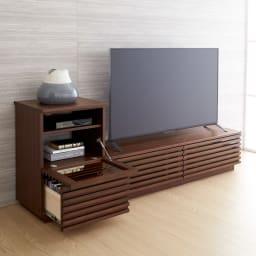 格子デザインシリーズ(ウォルナット) テレビ台 幅150cm コーディネート例