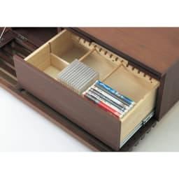 格子デザインシリーズ(ウォルナット) テレビ台 幅150cm 引き出しにはCDやDVD収納に便利な仕切りポール2本付き。