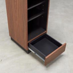 Renner/レナー リビングボード サイドシェルフ 幅40cm AV周辺機材や取扱説明書、リビング小物は下段の引き出し部分に収納。
