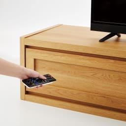 Oder/オーデル 伸長式テレビボード ガラス製だから、閉じたままリモコン操作ができます。