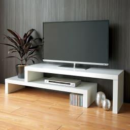 Cliff クリフ 伸縮式テレビ台テーブル 幅120cm[temahome テマホーム] ホワイト