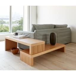 Cliff クリフ 伸縮式テレビ台テーブル 幅120cm[temahome テマホーム] ソファーのサイドと背面にセット