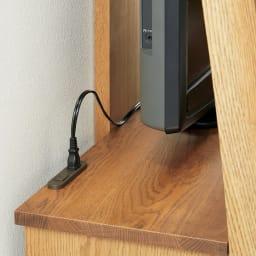 天然木シェルフキャビネット 片開きタイプ[素材:オーク/アルダー]幅75cm 天板上には、家電の設置に便利なコンセント付き。