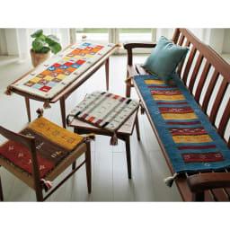 Gabbeh/ギャベ インド製 ウールマット 上から時計回りにミックス、ブルー額縁、ブラウングラデ、グレーミックス