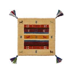Gabbeh/ギャベ インド製 ウールマット アイボリー額縁