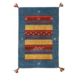 Gabbeh/ギャベ インド製 ウールマット ブルー額縁