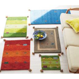 Gabbeh/ギャベ インド製 ウールマット 上から時計まわりにグリーングラデ、コバルトブルー、グレー、グリーングラデ、オレンジグラデ