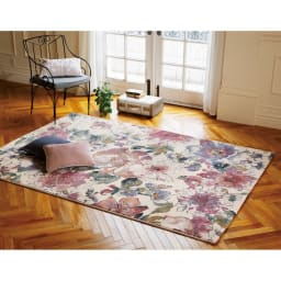 ベルギー製ウィルトン織りラグ〈フィデリオ〉 (ア)ピンク系・約160×230cm